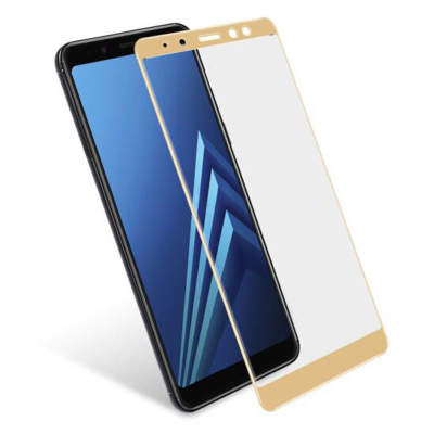 Стекло Samsung A8 Plus 2018 Full Glue 2.5D Black/White/Gold