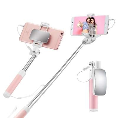 Монопод 3.5мм HOCO K2 magic mirror selfie stick pink