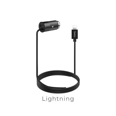 АЗУ HOCO Z17 Sure single port wired car charger (lightning) black
