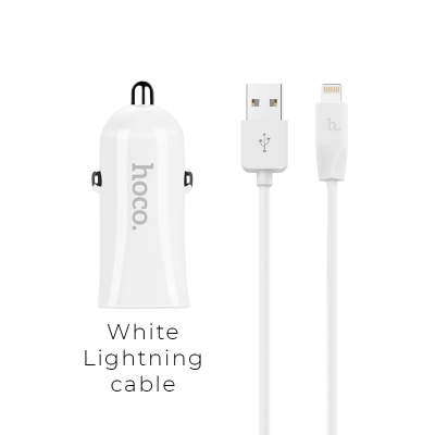 АЗУ + кабель Lightning HOCO Z12 Elite Dual USB white