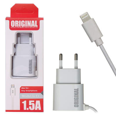 СЗУ Lightning Original G-13 5V/1.5A=1.5A (White)