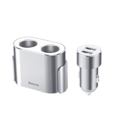 АЗУ с разветвителем Baseus High Efficiency One to Two Cigarette Lighter(dual-cigarette lighter 80W +dual USB 3.1A) CRDYQ-0S (Silver)