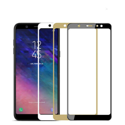 Стекло Samsung A6 2018 Full Glue 2.5D Black/White/Gold